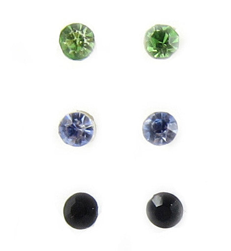 Color Crystal Plastic Studs - 3 Pairs