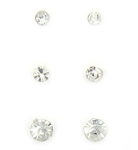 Clear Crystal Plastic Studs - 3 Pairs