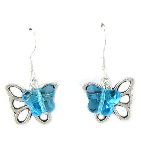 Silver Swarovski Butterfly Crystals Earring