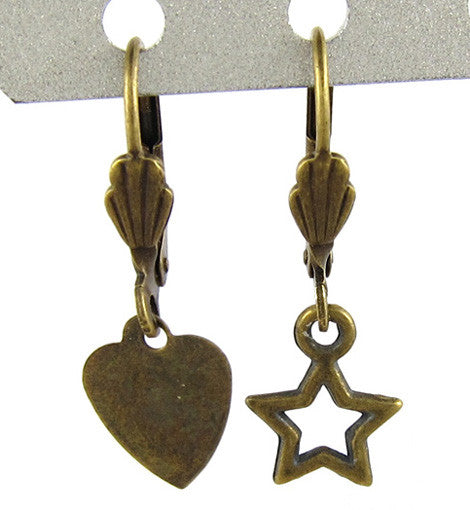 Antique Bronze Star and Heart Mismatch Earring