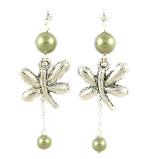 Light Green Swarovski Pearls Butterfly Earring