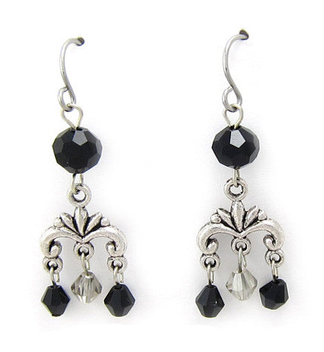 Mini Swarovski Jet Black Chandelier Earring