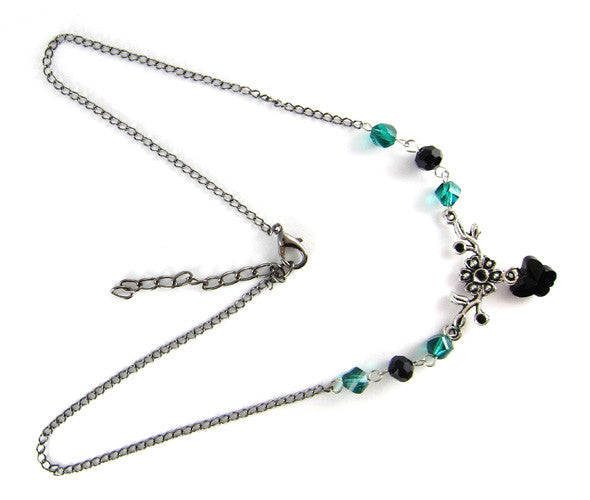 Swarovski Emerald and Black Butterfly Necklace