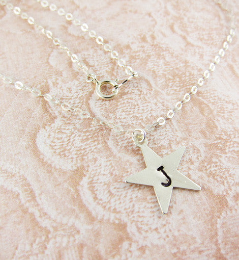 Sterling Silver Hand-Stamped Initial Star Necklace