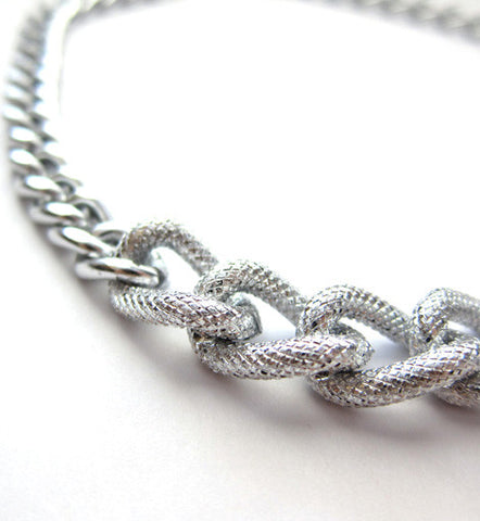 Chunky Silver Textured Chain Necklace