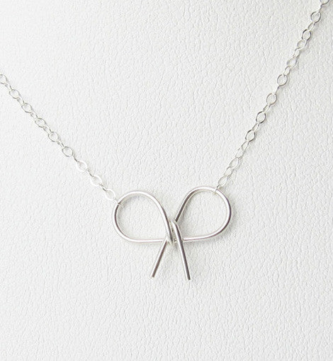 Sterling Silver Bow Knot Necklace