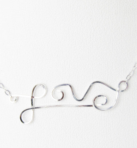 Sterling Silver Wire-wrapped Love Necklace