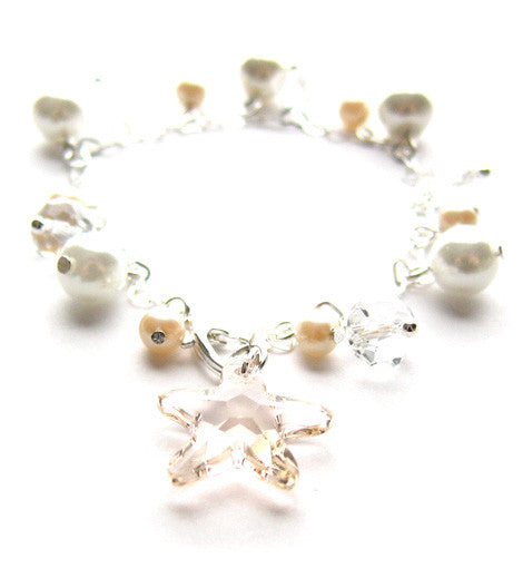 Sterling Silver Starfish Pearl Bracelet
