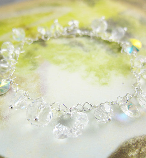 Sterling Swarovski Crystal Clear Mixed Bracelet