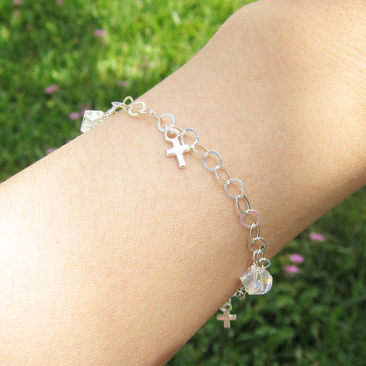 Sterling Silver Cross Crystal Bracelet