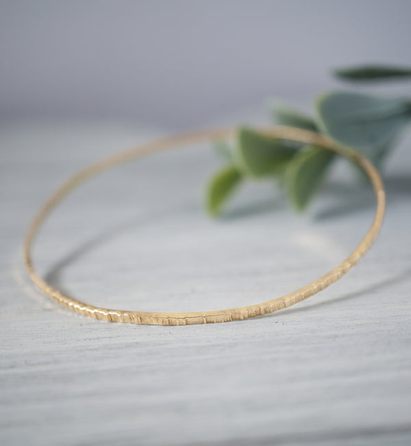 Gold Filled Hammered Bangle Bracelet