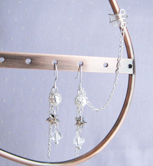 Dangle Charms Long Cuff Earring