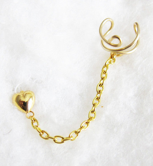 Plain Gold Heart Cuff Earring