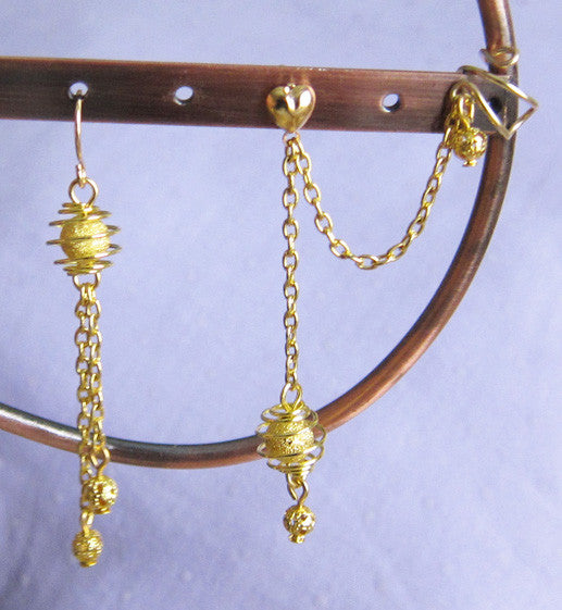 Gold Caged Stardust Cuff Earring