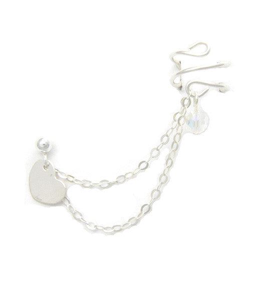 Sterling Silver Heart Double Chain Cuff Earring