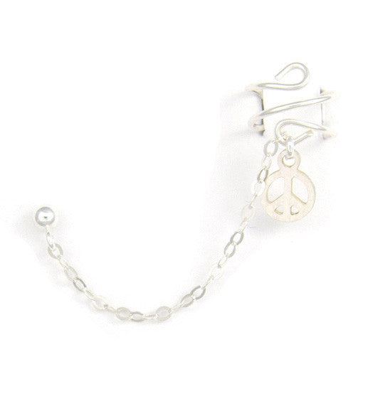 Sterling Silver Peace Cuff Earring