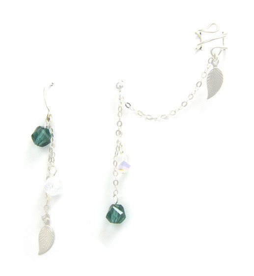 Sterling Silver Leaves Crystal Dangle Cuff Earring