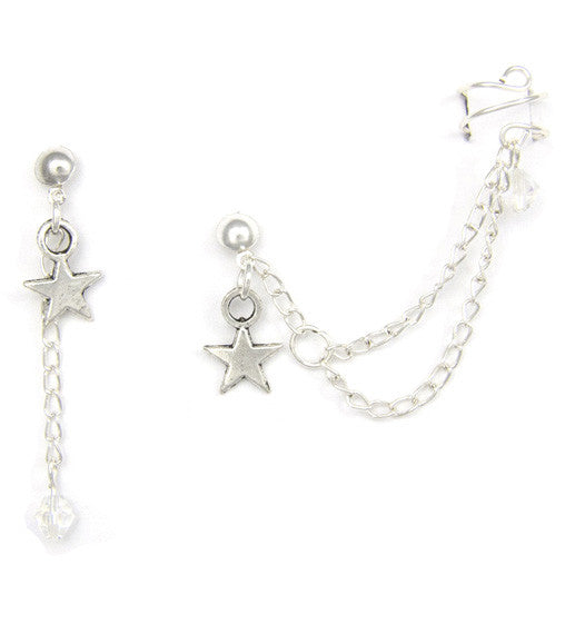 Silver Star Crystal Multi Chain Cuff Earring
