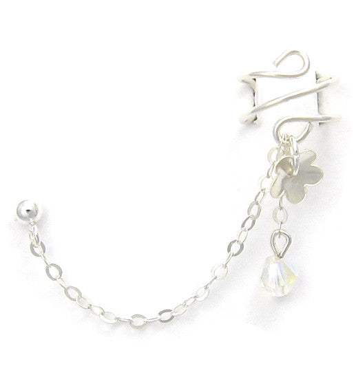 Sterling Silver Flower and Crystal Cuff Earring