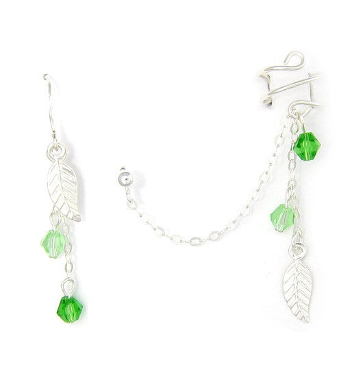 Sterling Silver Green Leaves Cuff Earring