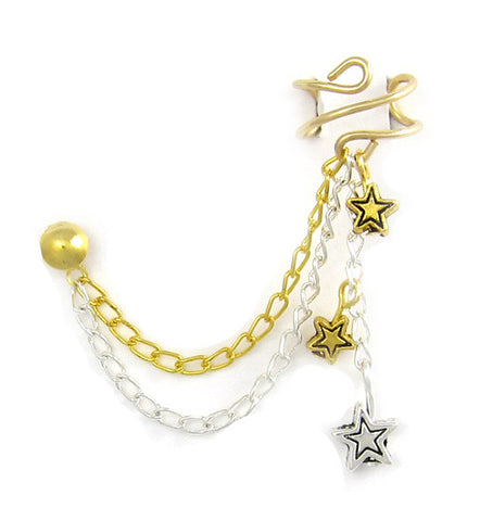 Silver and Gold Stars Cuff Earring
