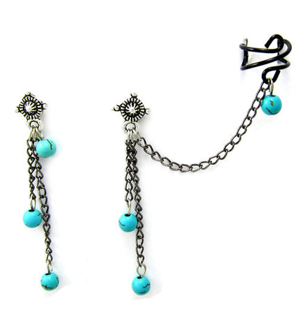 Black and Turquoise Vein Cuff Earring