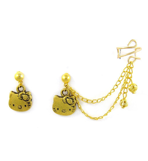 Gold Hello Kitty Double Chain Cuff Earring