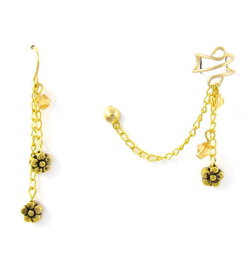 Gold Flowers Dangle Cuff Earring