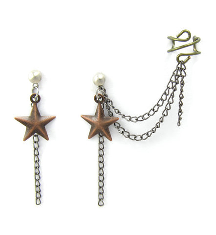 Antique Bronze Star Double Chain Cuff Earring