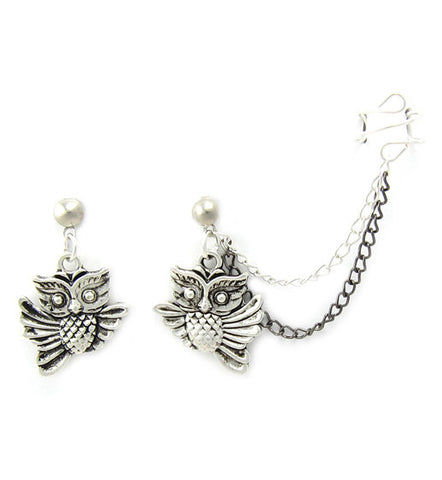 Antique Silver Owl Double Chain Cuff Earring