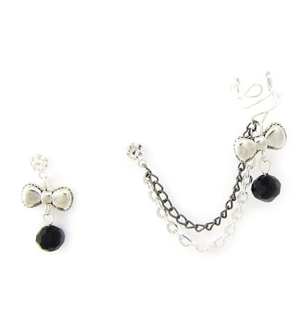 Bow and Black Crystal Double Chain Cuff Earring