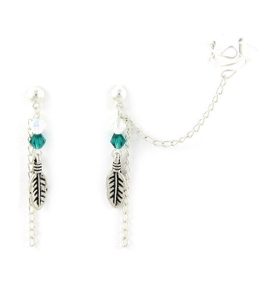 Silver Feather Crystals Dangle Cuff Earring