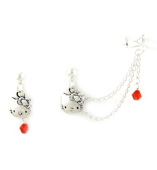 Hello Kitty Red Crystals Cuff Earring