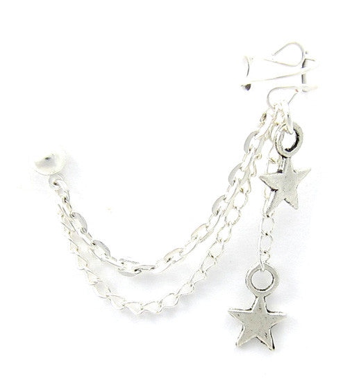 Silver Solid Stars 2 Chain Dangle Cuff Earring