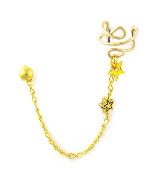 Gold Double Star Long Cuff Earring