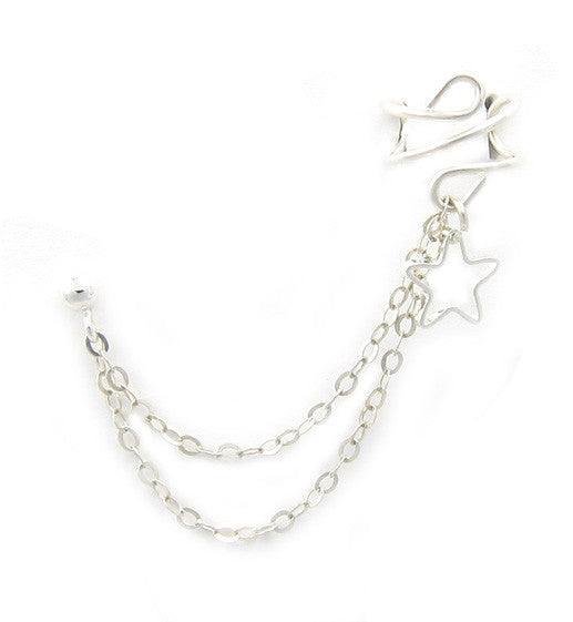 Sterling Silver Open Star Double Chain Cuff Earring