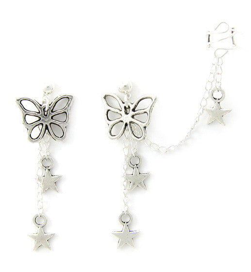 Butterfly Dangling Star Cuff Earring