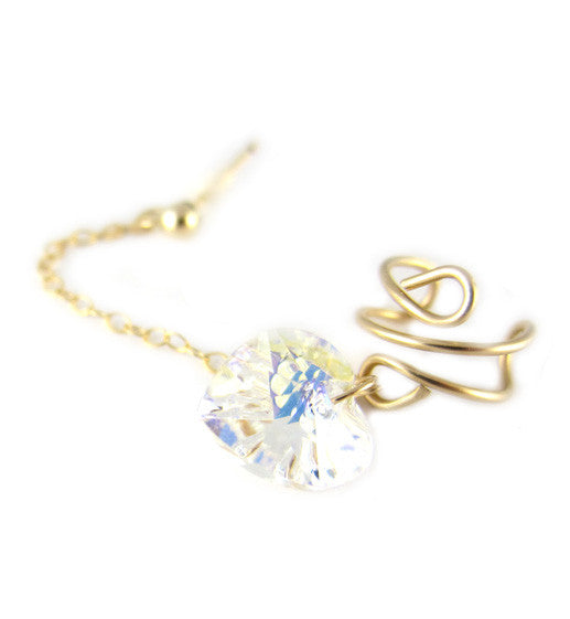 14K Gold Filled Swarovski Heart Cuff Earring