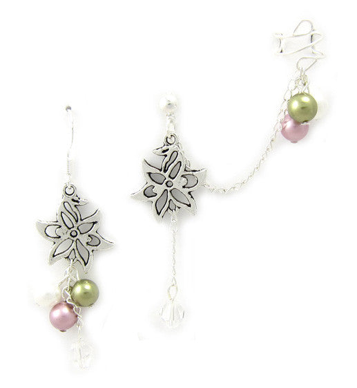 Flower Mixed Swarovski Pearls Cuff Earring