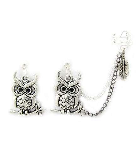 Owl On Branch Double Chain Cuff Earring