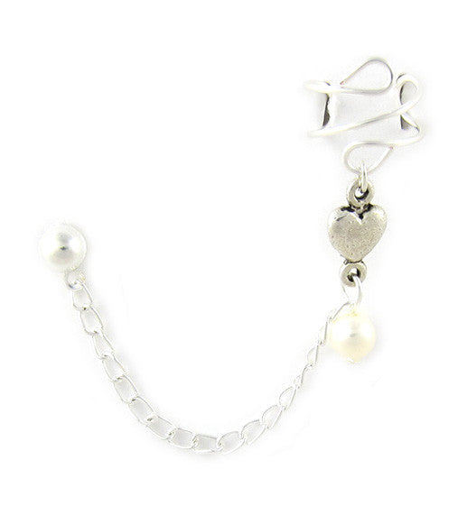 Silver Heart Pearl Connector Cuff Earring