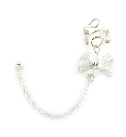 Sterling Silver Mesh Bow Cuff Earring