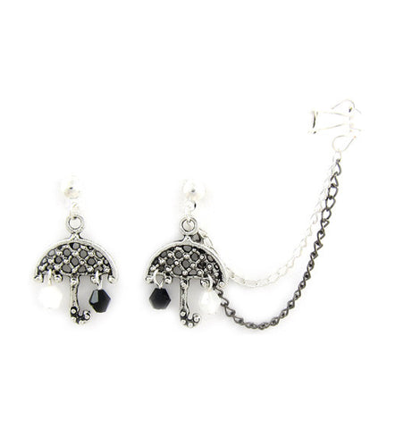 Umbrella Raining Crystals Cuff Earring