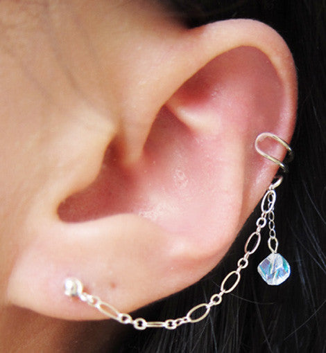 Piercing helix chain with crystal silver 925