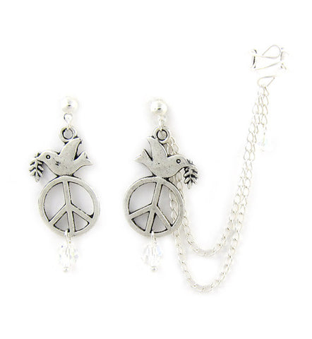 Silver Dove Peace Long Chain Cuff Earring