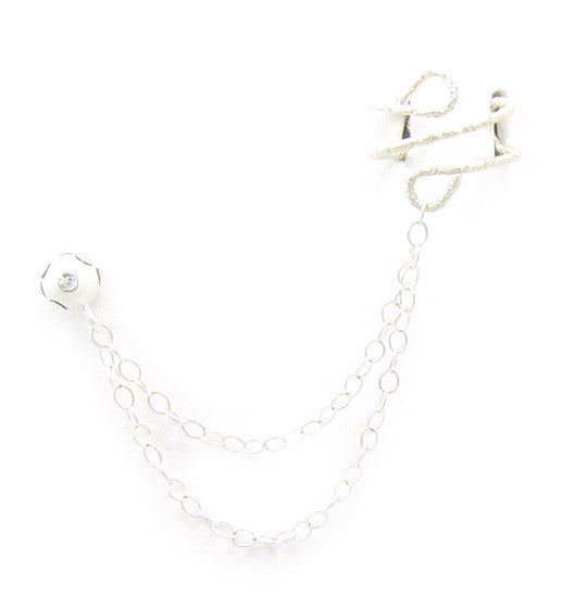 Cubic Zirconia Sterling Silver Ball Stud Double Chain Cuff Earring