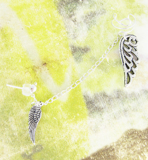 Silver Small and Large Wings Cuff Earring
