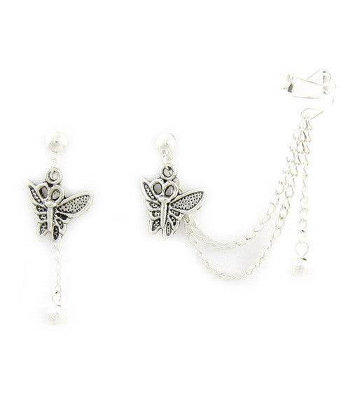Flying Butterfly Double Chain Cuff Earring