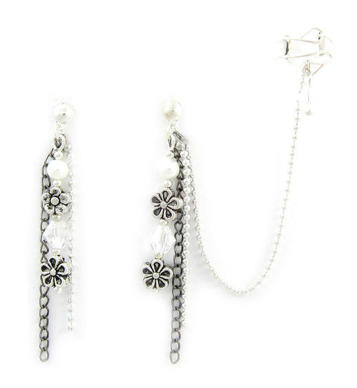 Flower Black and Silver Long Ball Chain Cuff Earring