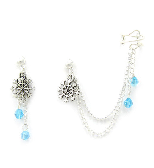 Silver Snowflakes Crystal Dangle Cuff Earring
